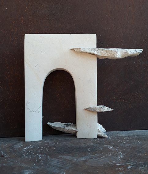 Betwee the clouds limestone sculpture 2020 represent an arch