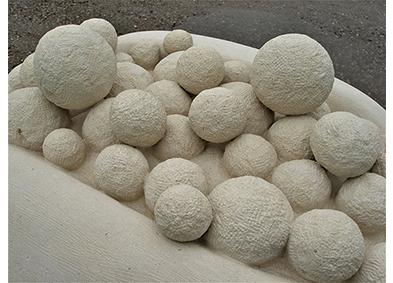 Emanuela Camacci Papaya stone sculpture